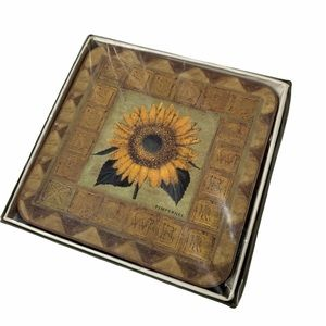 Harrods golden sunflower six coasters new in box